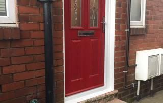 Red Composite Door In Fenham, Newcastle Upon Tyne
