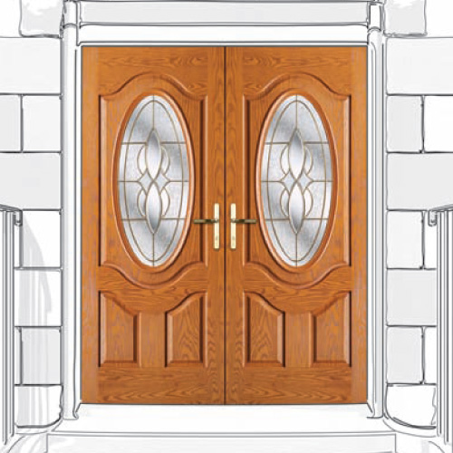 Composite Double Doors with Oval Windows
