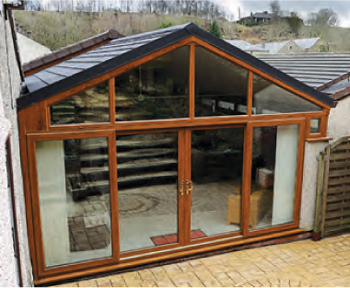 Gable-ended Guardian Warm Roof for conservatory conversions.