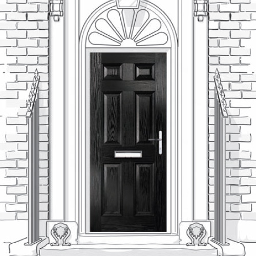 Solid (unglazed) composite doors in 4 panel or 6 panel styles.