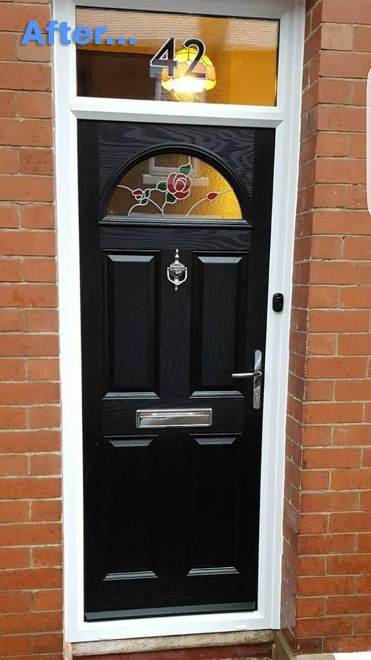 old UPVC door in Blyth replaced with composite door