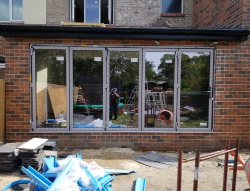 Large WarmCore Aluminium Bi-fold Patio Door in Forest Hall